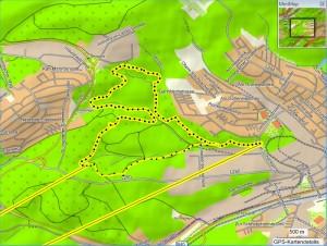 Karte - gelb mit schwarzen Punkten war die Route
